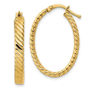 14K Patterned Oval Hoop Earrings