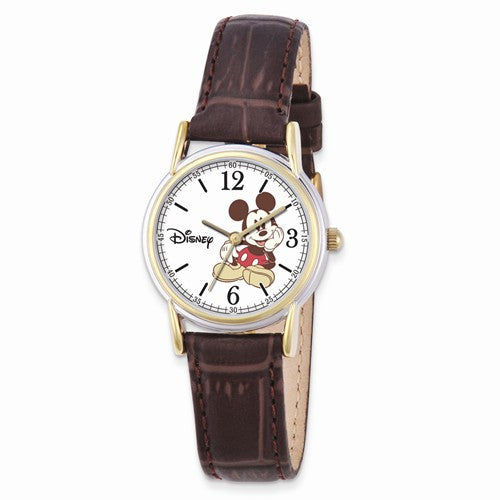 Disney Adult Size Brown Leather Strap Mickey Mouse Watch