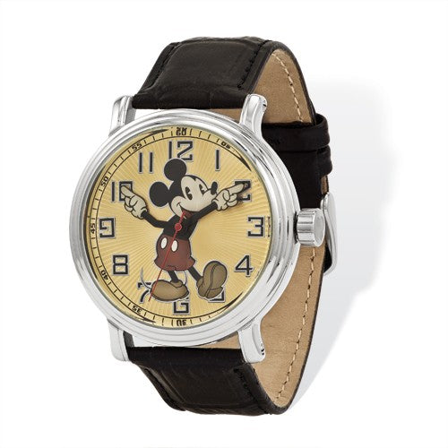 Disney Adult Size Black Lthr With Moving Arms Mickey Mouse Watch