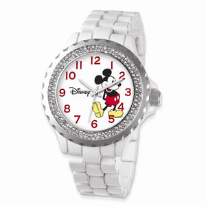 Disney Adult Size White Band With Crystal Bezel Mickey Mouse Watch