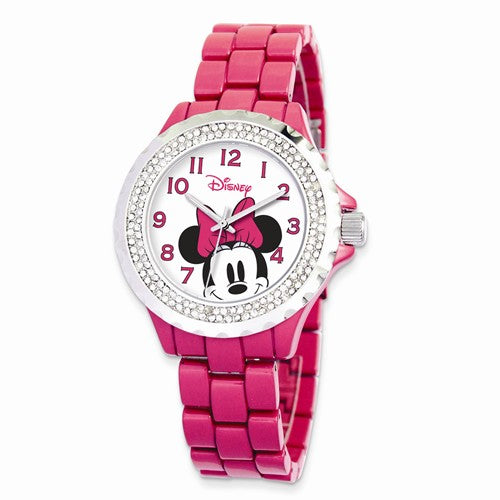 Disney Adult Size Pink Band With Crystal Bezel Minnie Mouse Watch