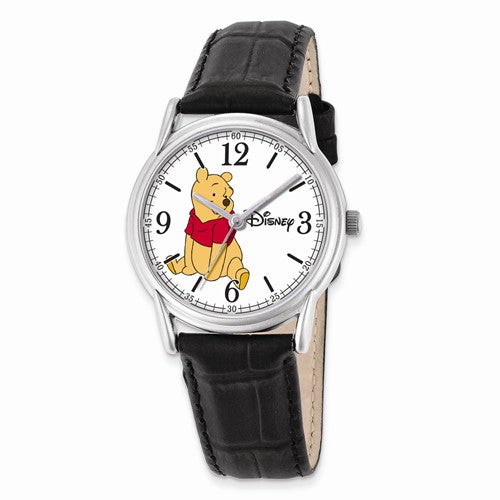 Disney Adult Size Black Leather Strap Winnie The Pooh Watch