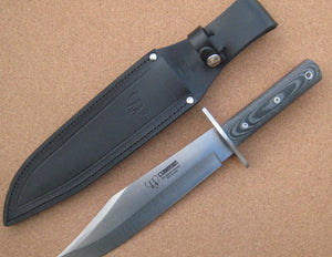 106M Cudeman Huge 15 Inch Black Micarta With Red Liners Bowie Knife
