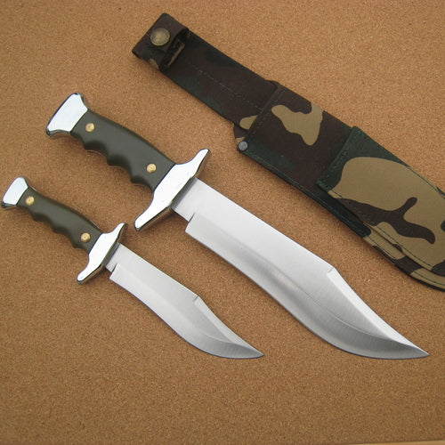 201V Cudeman Green ABS Piggyback Bowie Knife set
