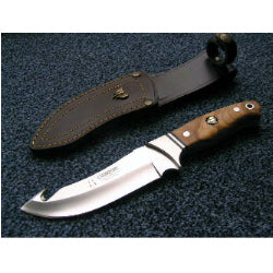 250L Cudeman Olive Wood Guthook Skinning knife