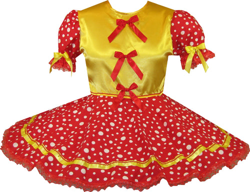 Ready 2 Wear | Red Polka Dots Satin Bows Adult Sissy Dress LEANNE