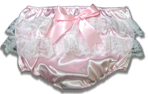 Custom Fit Lacy Butt Satin Adult Sissy Baby Rhumba Panties Diaper Cover