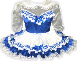 Maya Custom Fit Satin See-Thru Organza Stripe Adult Baby Little Girl Sissy Dress by Leanne's