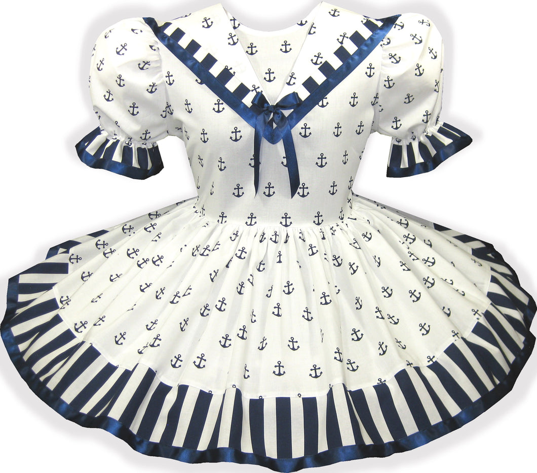 Lydia Custom Fit White Sailorette Nautical Adult Baby Little Girl Sissy Dress by Leanne's