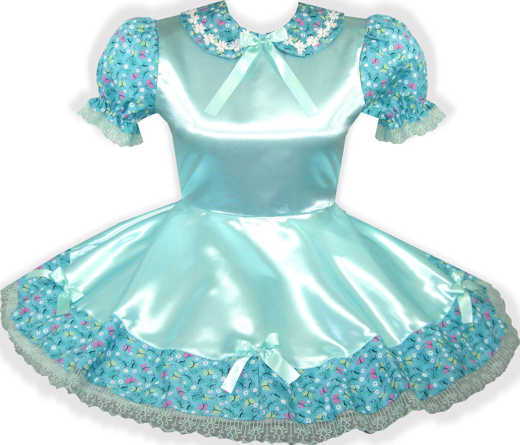 READY 2 WEAR | Mint Satin Flowers Bows Adult Little Girl Sissy Dress LEANNE