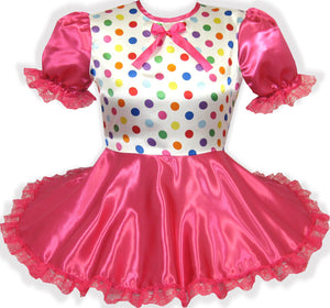 READY 2 WEAR | Satin Polka Dots Lace Bows Adult Little Girl Sissy Dress LEANNE