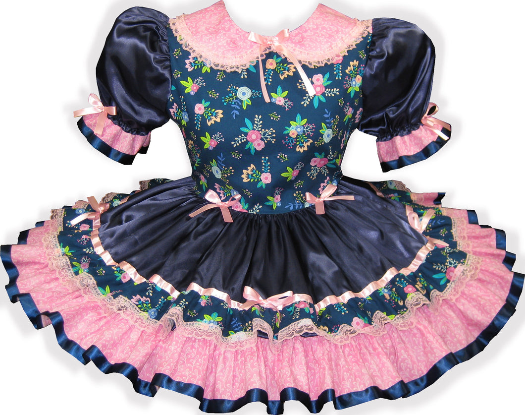 Tammy Custom Fit Pink Navy Satin Ribbon Flowers Adult Baby Little Girl Sissy Dress by Leanne's