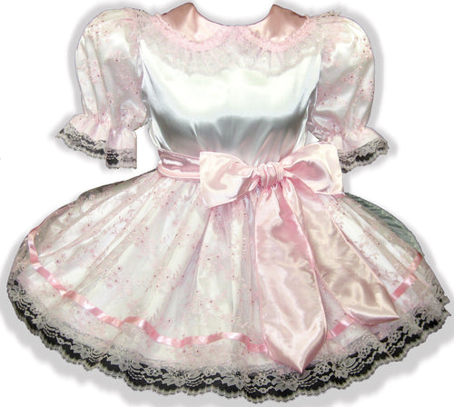 Kiana Custom Fit Pink Satin Rhinestones Adult Baby Little Girl Sissy Dress with Sash by Leanne's