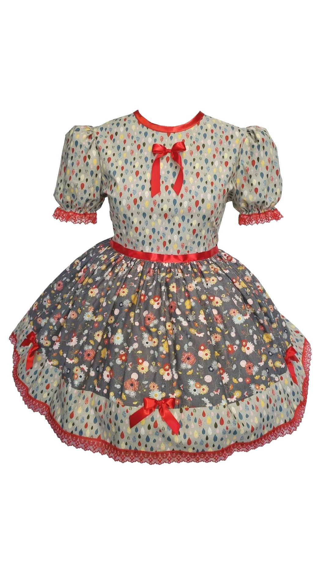 Cute Red Flowers Bows Adult Little Girl Sissy Dress LEANNE