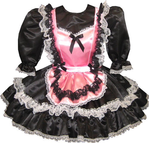Abagail Custom Fit Black & Pink Satin Maid Adult Little Girl Sissy Dress by Leanne's
