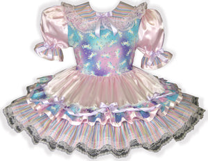 Arianna Custom Fit Pink Satin Glitter Unicorn Adult Baby Sissy Dress by Leanne's