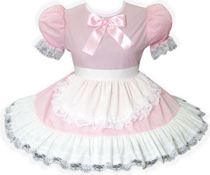 Betty Custom Fit Lacy Pink White Cotton Apron Adult Baby Sissy Dress by Leanne's