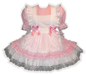 Cassie Custom Fit Pink & White Adult Little Girl Baby Sissy Pinafore Dress by Leanne's