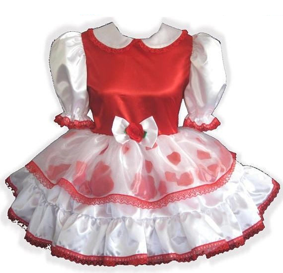 Maureen Custom Red & White Satin Rose Petals Adult Baby Sissy Dress by Leanne's
