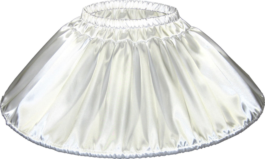 Custom Fit White Satin Mini Hoop Skirt Crinoline Petticoat for Adult Sissy Dress up by Leanne's