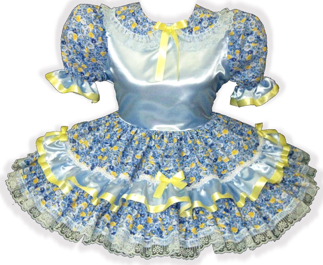 Shayla Custom Fit Blue Satin Flowers Yellow Bows Adult Baby Sissy Dress