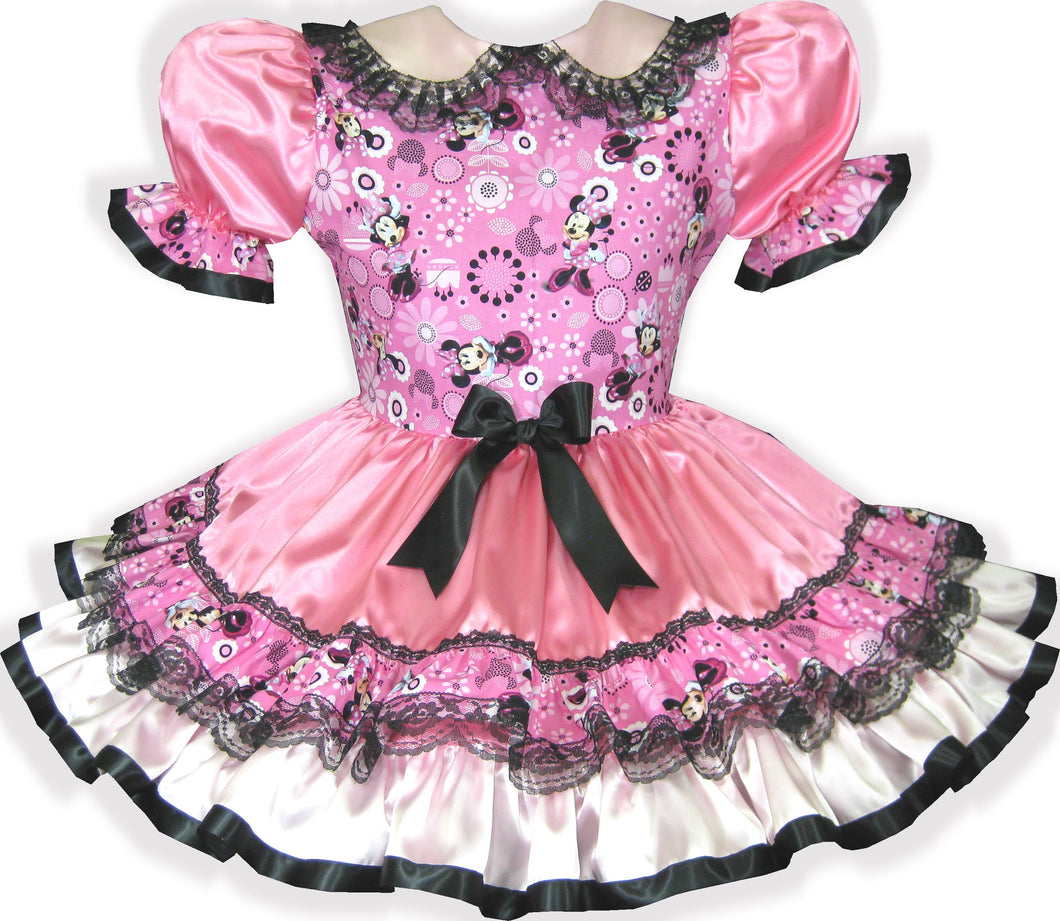 Sophie Custom Fit Lacy Pink Satin Minnie Mouse Adult Baby Sissy Dress by Leanne's