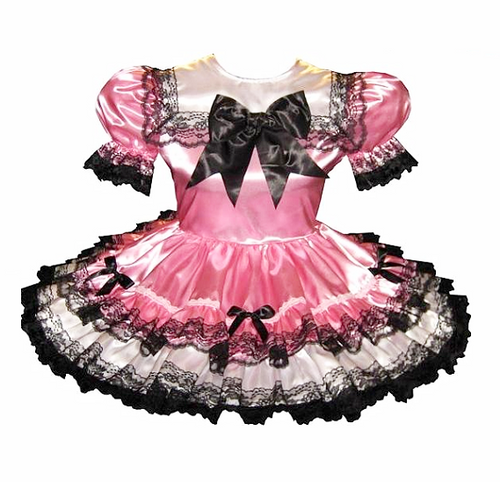 Ashlee Custom Fit Pink & White Satin Black Lace &Bows Adult Little Girl Baby Sissy Dress