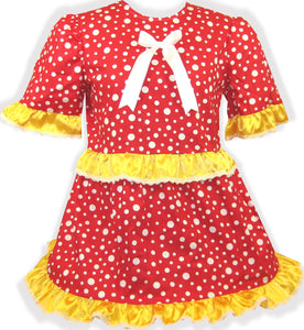 READY 2 WEAR | Red Yellow Polka Satin Dots Adult Little Girl Sissy Dress LEANNE