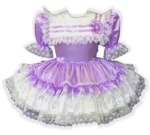 Brittany Custom Fit Lacy Satin Ruffles Adult Baby LG Sissy Dress Leanne