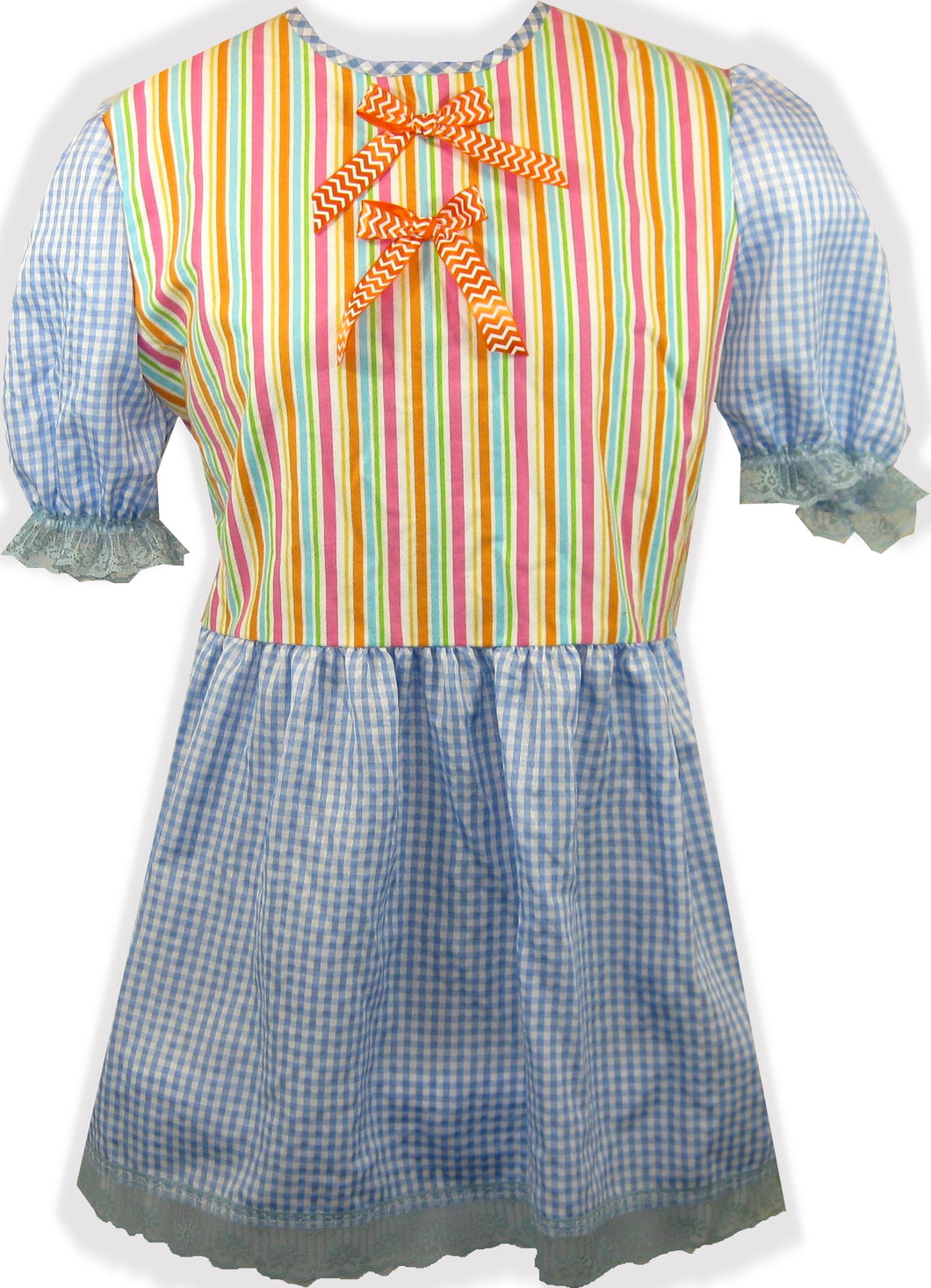 Ready 2 Wear | Blue gingham and bows Adult Sissy Dress LEANNE