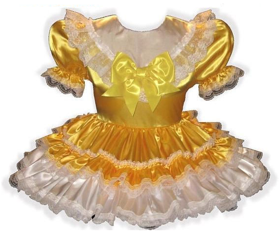 Hillary Custom Fit Lacy Gold Satin Adult Little Girl Sissy Baby Dress by Leanne's