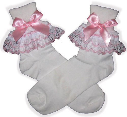 Pink White Lace Bows Lacy Socks for Adult Little Girl Sissy Boy Dress up