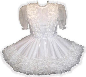 Ramona Custom Fit White Organza Ruffles Adult Baby Sissy Dress by Leanne's