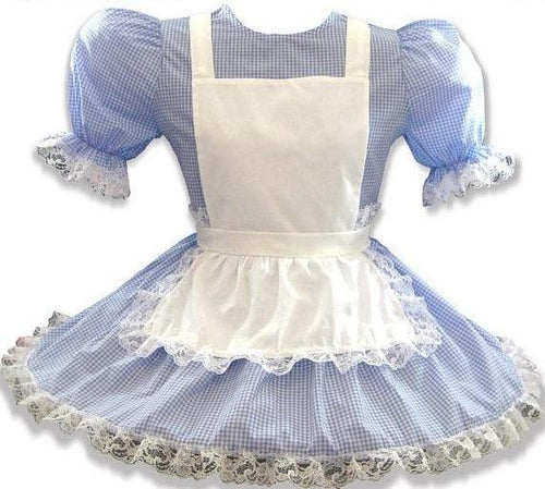 Lachelle Custom Fit Blue Gingham Adult Little Girl Dress by Leanne's