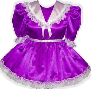 Jayne Custom Fit Purple Satin White Lace Adult Sissy Dress by Leanne's