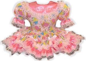 Brenda Custom Fit Lacy Pink Princess Bows Adult Little Girl Baby Sissy Dress by Leanne's