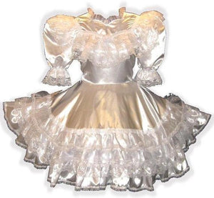 Savannah Custom Fit White Satin Ruffles Adult Little Girl Baby Sissy Dress by Leanne's
