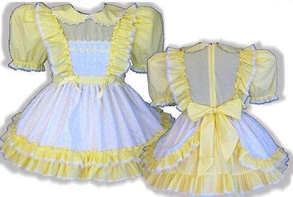 Myrna Custom Fit Yellow Eyelet Daisies Adult Lg Baby Sissy Dress & Sash by Leanne's