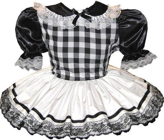 Rachel Custom Fit Black & White Satin Adult Little Girl Baby Sissy Dress by Leanne's
