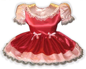 """/""""Ruby/"""" Custom Fit RED SATIN with BRIDAL LACE Adult LG Baby Sissy Dress LEANNE"""