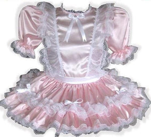 Michelle Custom Fit Pink Satin Organza Ruffle Adult Baby Sissy Dress by Leanne's