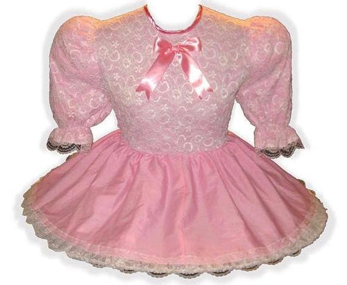 Kylie Custom Fit Pink Lacy Adult Little Girl Baby Sissy Dress by Leanne's