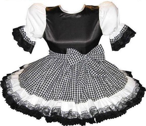 Rosalie Custom Fit Satin & Gingham Adult Little Girl Sissy Dress with Sash by Leanne's