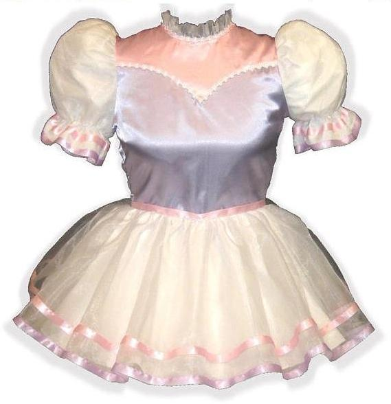 Lucia Custom Fit Pink & Lilac Satin Organza Adult Little Girl Baby Sissy Dress by Leanne's