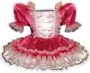 Annika Custom Fit Fuchsia Satin Ruffles Adult Baby Little Girl Sissy Dress by Leanne's