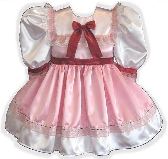 Olivia Custom Fit Lacy Satin Adult Little Girl Baby Sissy Dress by Leanne's