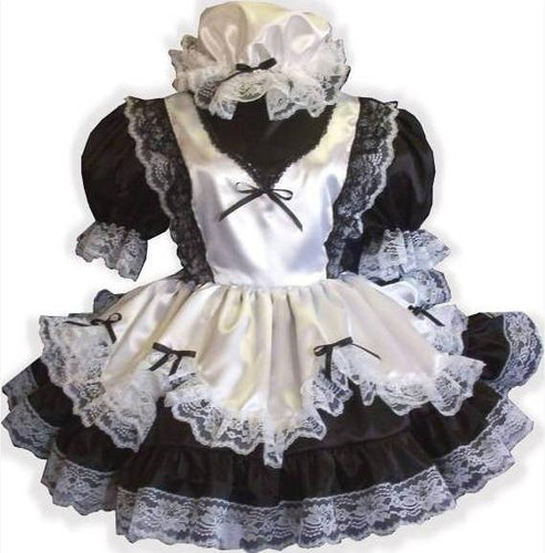 Fern Custom Fit Lacy Satin French Maid Adult Little Girl Sissy Dress