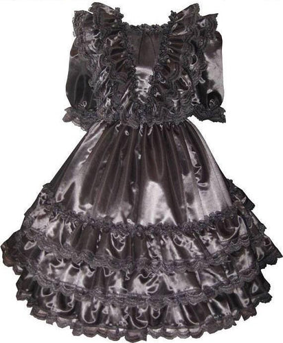 Sabrina Custom Fit Black Satin Ruffles Gown Adult Little Girl Sissy Dress by Leanne's