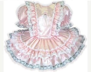 Claire Custom Fit Lacy Pink Satin Ruffles Adult Little Girl Baby Sissy Dress by Leanne's