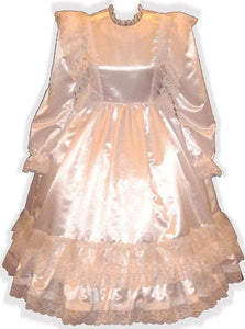 Kimberlina Custom Fit White Satin Ruffle Gown Adult Lg Baby Sissy Dress